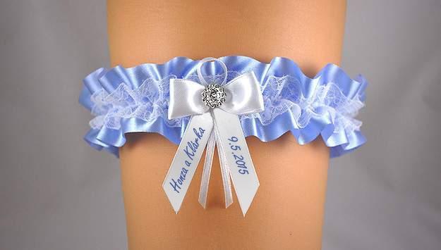 Doplnky pre nevestu - Svadobný podväzok s potlačou