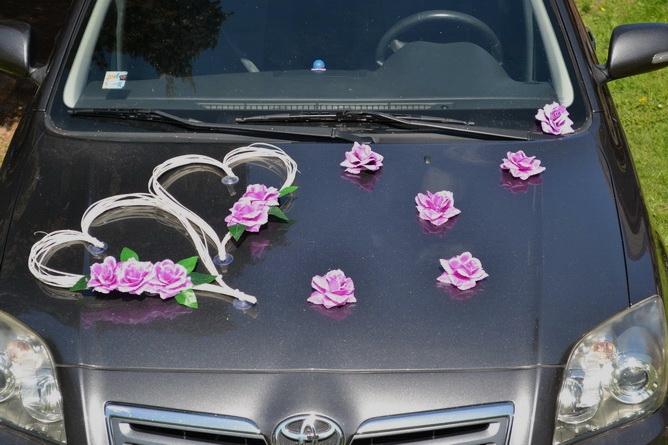 Svadobné dekorácie na auto - Kvety k ozdobenie automobilu - fialová