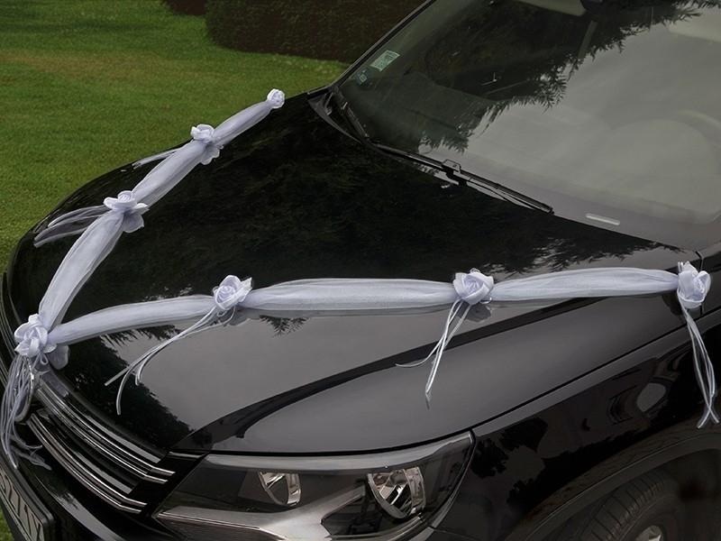 Svadobné dekorácie na auto - Šerpa s bílými kvítky