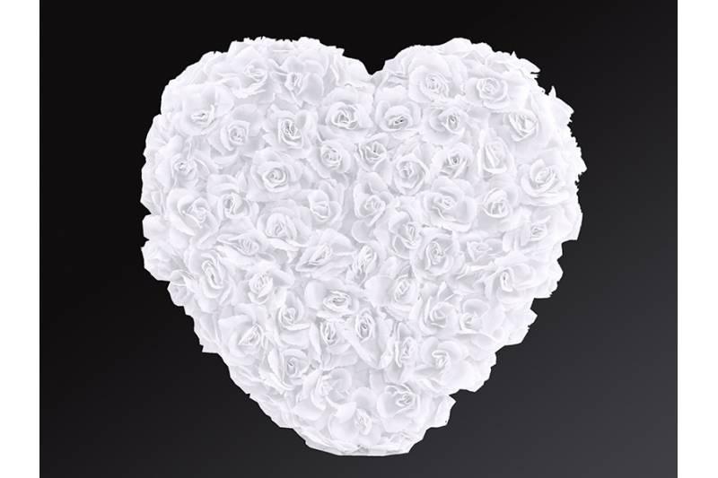 Svadobné dekorácie na auto - Květinové srdce - bílá