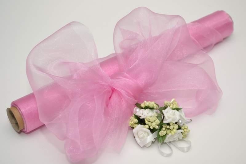 Ružová - Dekoračná organza - ružová