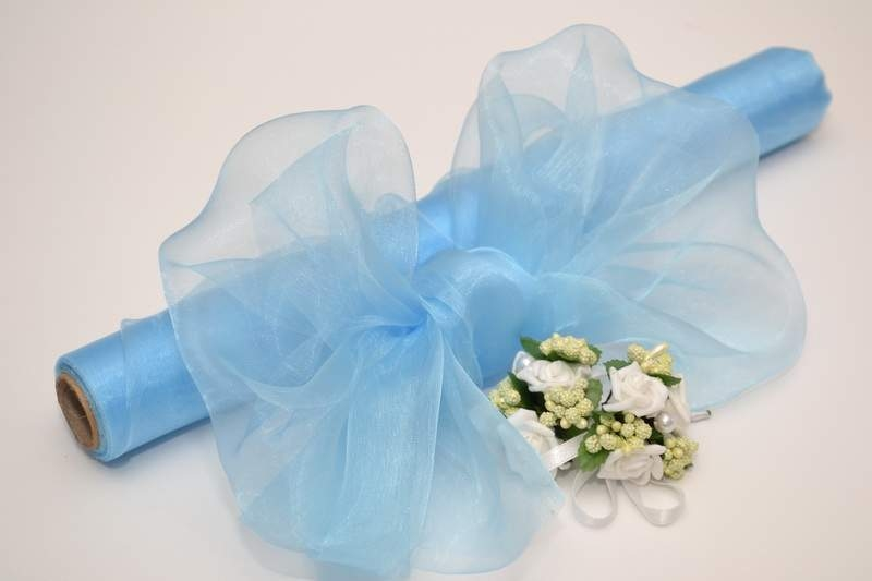 Modrá - Dekoračná organza - nebesky modrá