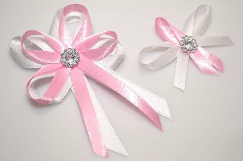 Svadobné výväzky a stuhy - Svadobný vývazek s brošňou - ružová