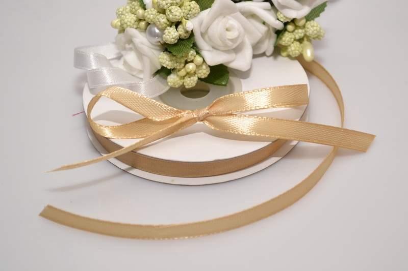 Svadobné výväzky a stuhy - Saténová stuha - zlatá