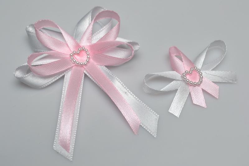 Svadobné výväzky a stuhy - Svadobný vývazek s perleťovým srdiečkom - ružová