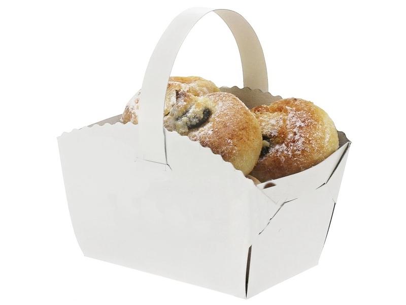 Biela - Košíček na koláčiky s uškom