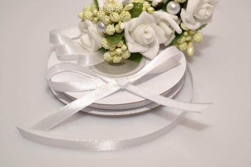 Svadobné výväzky a stuhy - Saténová stuha biela