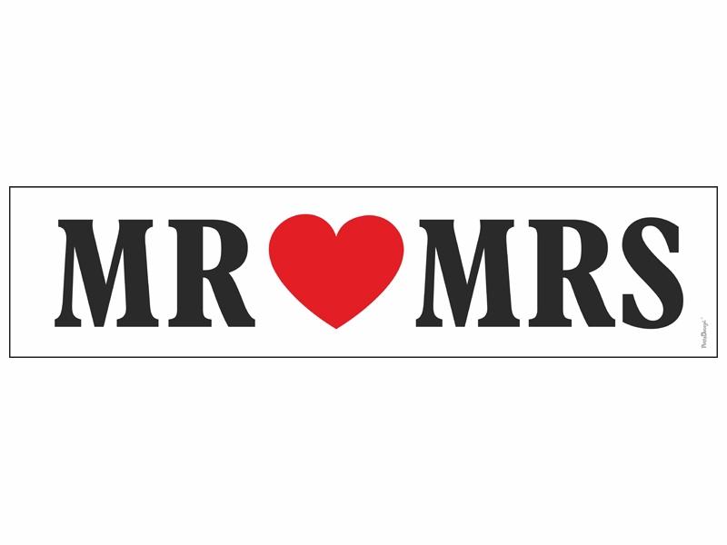 Svadobné dekorácie na auto - SPZ Mr and Mrs
