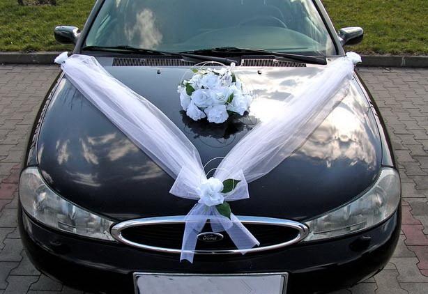 Svadobné dekorácie na auto - Výzdoba na auto kytice