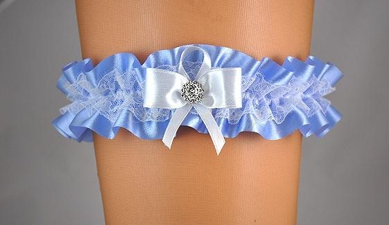 Doplnky pre nevestu - Modrý podväzok s bielou mašľou