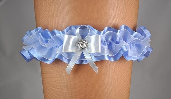 Doplnky pre nevestu - Modrý podväzok s mašľou