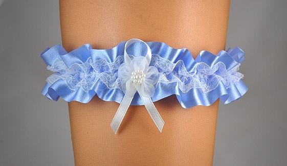 Doplnky pre nevestu - Modrý podväzok s čipkou