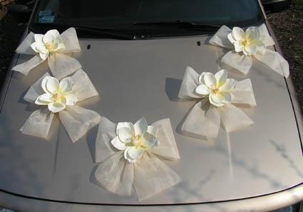 Svadobné dekorácie na auto - Dekoračná sada kvietky