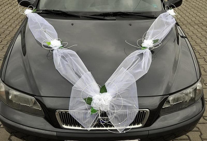 Svadobné dekorácie na auto - Šerpa z organzy + ozdoby klik