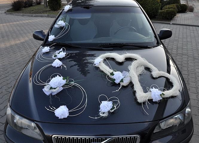 Svadobné dekorácie na auto - Výzdoba na auto dvojísrdce