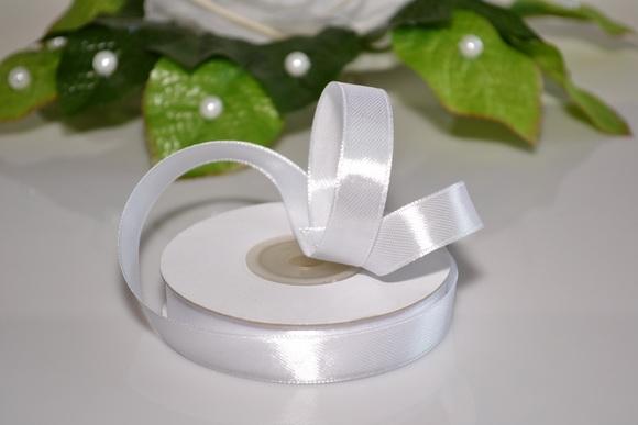 Svadobné výväzky a stuhy - Saténová stuha 12mm - biela
