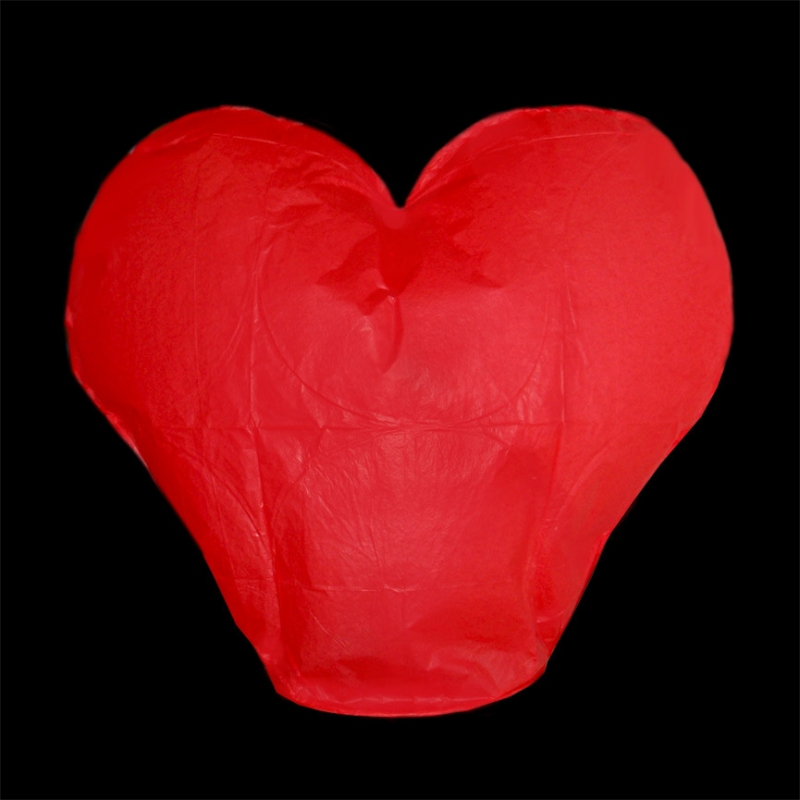 Lampióny šťastie - Lampión šťastia srdce - červené