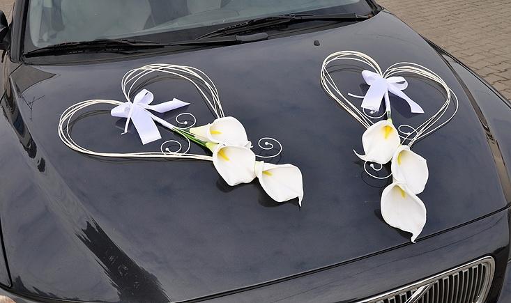 Svadobné dekorácie na auto - Výzdoba auta kaly