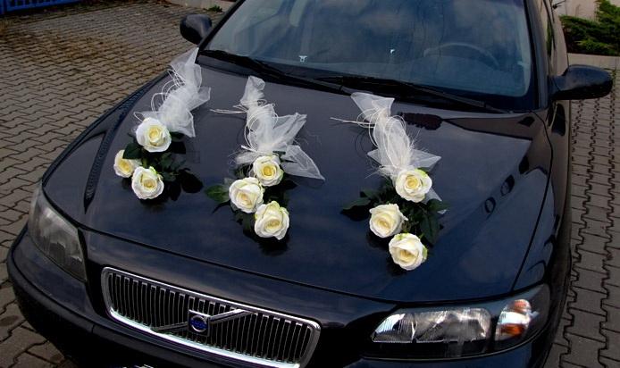 Svadobné dekorácie na auto - Dekoračná sada tri ruže