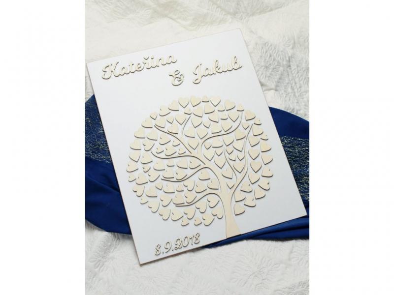 Svadobné ozdoby - Svadobný strom - biely podklad