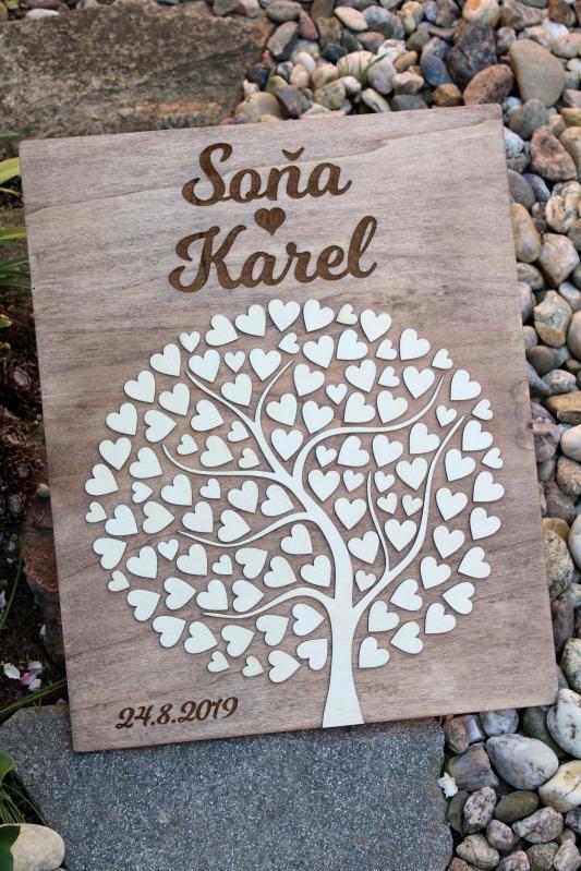 Svadobné ozdoby - Svadobný strom drevený s gravírovaním