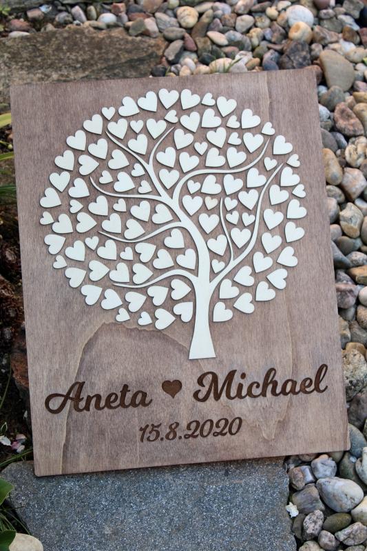 Svadobné ozdoby - Svadobný strom drevený s vašimi menami