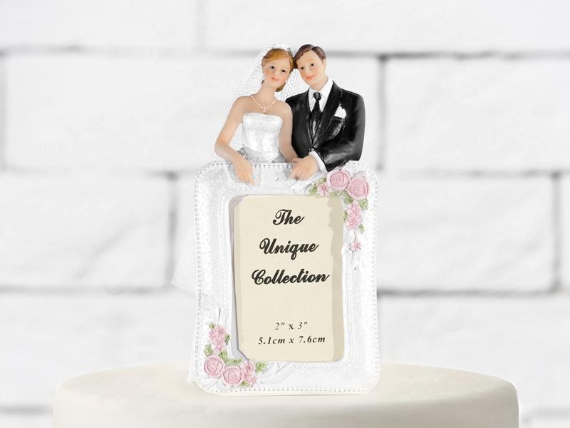 Figúrky na svadobnú tortu - Ženích a nevesta s rámom