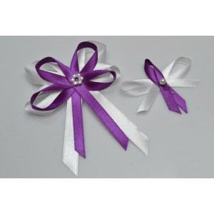 Svatební vývazek s perličkou - fialová