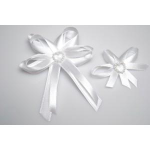 Svatební vývazek s perleťovým srdíčkem - bílá