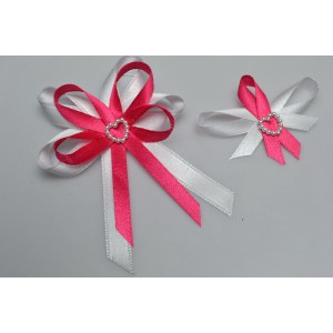 Svatební vývazek s perleťovým srdíčkem - fuchsia
