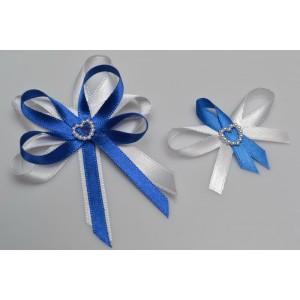 Svatební vývazek s perleťovým srdíčkem - královská modř