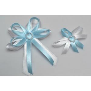 Svatební vývazek s perleťovým srdíčkem - světle modrá