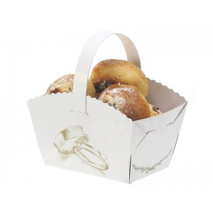 Košíček na koláčky s ouškem - potisk prstýnky