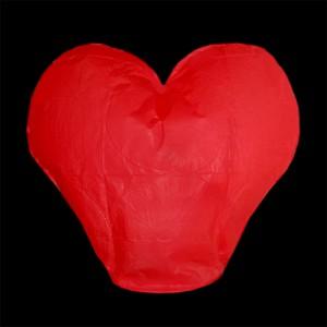 Lampion štěstí srdce - červené