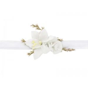 Květinová ozdoba na zápěstí - bílá