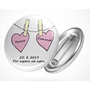 Svatební placka srdce