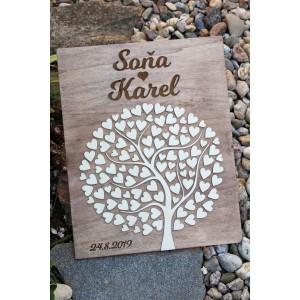 Svatební strom dřevěný s gravírováním